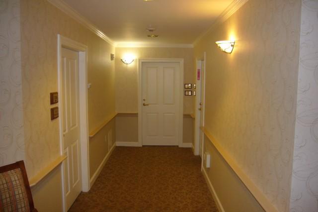 Senior living hotel corridor painting